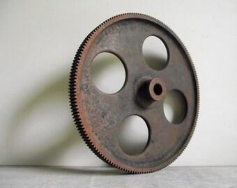 Cast Iron Gear   Industrial Wheel   Fine Tooth Gear Wheel   Antique Machinery Salvage   Steampunk Industrial Decor   Vintage Supply
