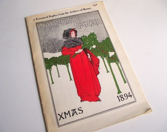 Harper's Bazar Xmas 1894 Magazine , Magazine Replica Reprinted in 1971 by Digest Books , Christmas Nostalgia , Coffee Table Holiday Decor