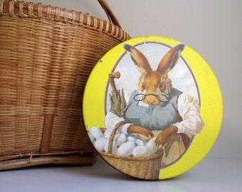 Easter Rabbit Tin , Decorative Vintage Metal Tin , Valleybrook Farms Easter Bunny Cookie Tin , Decorative Use Only