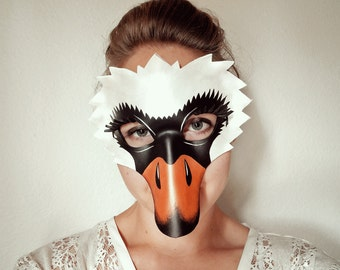 Swan Leather Mask - Kids or Adult Sizes - Bird - Masquerade Mask - Halloween Mask - White Swan Mask - Duck - Girl's Costume - Women's Mask
