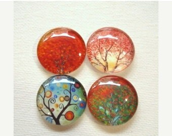 SALE 20% Off - 4pcs 25mm Mix Handmade Tree Glass Photo Cabochons PC620-M25