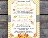 Business Party Invitation, DIY Printable -  Orange Chevron, PDF template - Fall