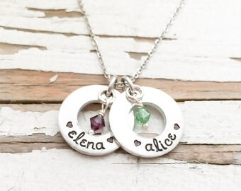 Motherhood necklace etsy custom hand stamped mothers necklace childrens names birthstones new mom gift baby shower motherhood pendant mommy mozeypictures Gallery