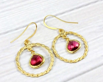 Ruby Earrings, Gift for Her, Boho Earrings, Gold Earrings, Statement Earrings, Bohemian Earrings, Dangle Earrings, July Birthstone, Sapphire