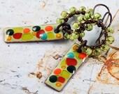 Spring Garden Enameled Copper Charm Rainbow Wirewrapped Bohemian Earrings
