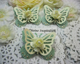 Light Aqua and Ivory Paper Butterflies, Paper Embellishments for Scrapbooking Cards Mini Albums Tags Altered Projects and Paper Crafts