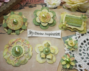 Light Green Yellow and Ivory Paper Embellishments and Paper Flowers for Scrapbook Layouts Cards Mini Albums and Paper Crafts