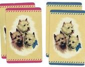 PUPS PORTRAIT (4) Vintage Single Swap Playing Cards Paper Ephemera Scrapbook