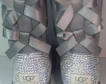 Bailey Bow UGGs, Custom Bailey Bow Uggs, Gray Bailey Bow Uggs, Swarovski Uggs, Crystal UGGs, Embellished Uggs, Bling Uggs, Bailey Bow Tall