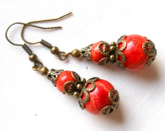 boho coral filigree dangle earrings coral earrings beaded sponge coral earrings brass earrings filigree earrings red coral earrings