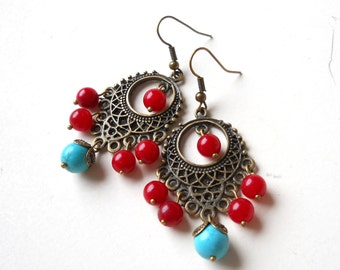 gypsy earrings red and turquoise dangle earrings beaded dangle earrings stone earrings boho earrings bohemian earrings chandelier earrings