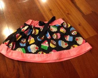 Boutique Cupcake Skirt Pink Black Birthday SAMPLE SALE size 4/5