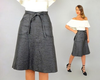 70's Black FAUX LEATHER Wrap Skirt