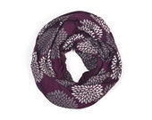 INFINITY SCARF - Screen Printed - Gray Flowers on Plum - Mothers Day