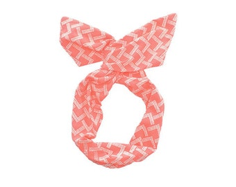 Twist Hair Scarf - Screen-printed Wire Headband - White Mountains on Coral