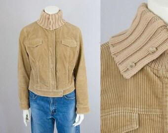 90s Vintage J.Crew Tan Corduroy Ribbed Knit Collar Jacket (S, M)