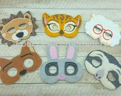 Sloth, mayor lamb, lion, fox, bunny, cheetah 6 pc set Embroidered felt play mask costume Zootopia fans flash officer judy hopps child size