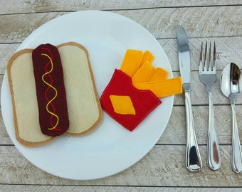 Felt food pretend play hot dog French fries imagination play