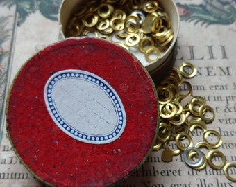 Petite antique French box small brass flat rings washers c1880 Perfect for jewellery jewelry projects