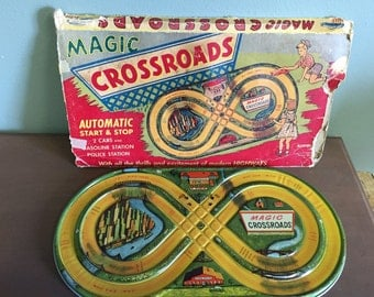 Vintage Magic Crossroads Toy Racetrack in Box
