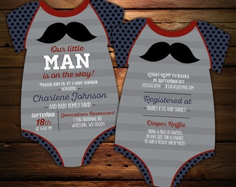 10 Mustache Baby Shower Invitations, Little Man invitation, bodysuit Invite, Little Gentleman, Little Mister, Navy and Gray, Die Cut