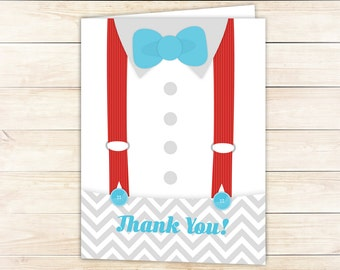 10 Bowtie Thank you Cards -- Suspenders Folded Thank you Cards for Baby Shower or Birthday