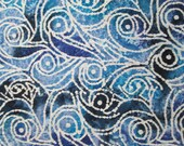Shades of Blues and White Scroll Batik Surgical Scrub Top / X Small - XX Large