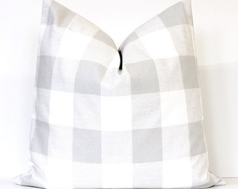 French Gray Check Designer Pillow Cover Accent cushion tartan modern farmhouse country neutral rustic holiday plaid gingham grey silver