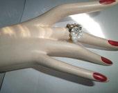 Vintage ring, Genuine Pearl ring, silver plated rhine stone ring, circa 1995