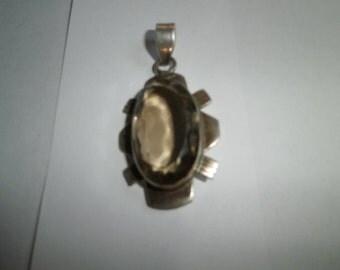 VIntage Pendant, Genuine Smoky Topaz, 925 sterling Pendant, large Jumbo pendant, circa 1960's