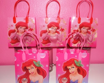 Ariel/The Little Mermaid Party Favor Bags - Pink