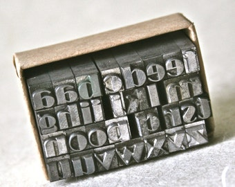Lower Case Vintage Letterpress Alphabet with Double Vowels for Printing and Stamping