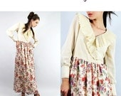 SALE Dress Vintage 70s Floral Maxi Dress ACCORDION Collar Ruffles / Vintage Clothing by TatiTati Style on Etsy