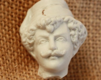 Antique German Unglazed Porcelain Man's Head from figurine small