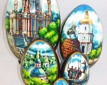 Nesting Set, Vintage, Colorful, Russian, Oval, Wooden, Cathedrals, 5 Pieces, Religious, Décor, Estate Item, Trinket Box, Stash Box