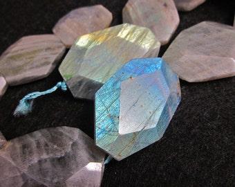 Labradorite, Feldspar, 12 Free Form, Large Faceted Focal Beads, 16 Inch Strand, 25 x 15mm to 35 x 25, Pendants, Jewelry Making, Aurora