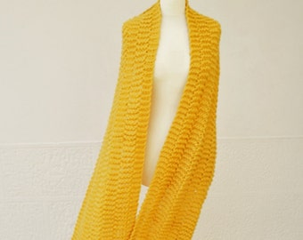 Oversized Knit Scarf, Wide Mustard Yellow Knit Scarf, Extra Long Knitted Scarf, Chunky Wool Scarf