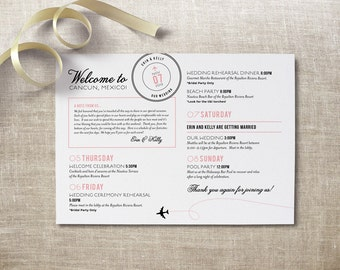 Destination Wedding Weekend Timeline - Wedding Program - Order of Events - Itinerary