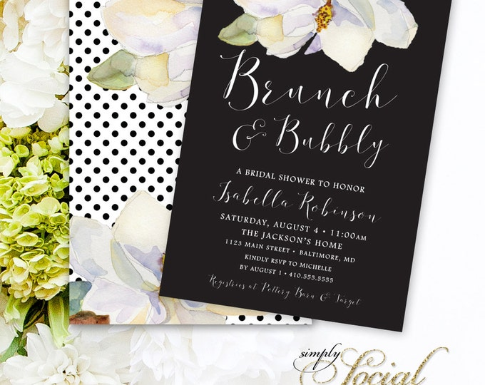Magnolia Brunch and Bubbly Invitation - White Flowers and Black and White Polka Dots Calligraphy Font Bridal Shower Invitation PRINTABLE