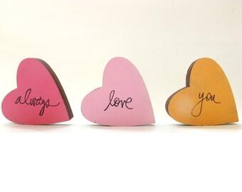 Hearts decor wooden block set, home decor, valentine decor, Christmas gift, pink hearts room decor