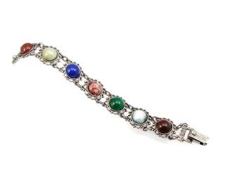 Scottish Bracelet Faux Agate Vintage Jewelry Signed JEM Costume Jewelry 1973 Blue Bracelet Red Marble Bracelet Estate Jewelry Celtic