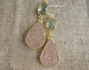 FLASH SALE 40% Druzy Earrings Druzy Quartz Green Amethyst Gold Vermeil Bezel Set