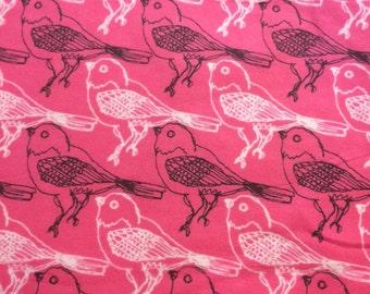 Pink Birds  - Flannel Fabric - BTY