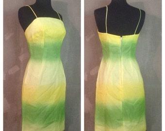 70% OFF Vintage 1970s Chartreuse Ombre Cocktail Party Dress S (e)