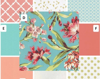 Shabby Chic, Coral and Teal Floral Crib Bedding, Aqua Floral crib bumper, Coral teal Gold crib bumper,  Baby Girl Crib Bedding, Bumperless