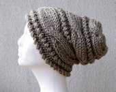 Knit Hat Womens Hat Slouchy Hat Women Hat Oversized Hat Cable Hat Chunky Beanie Slouchy Women Hat Slouch Beanie Hand knit hat in Linen