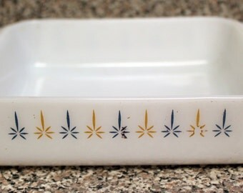 "Vintage FIRE-KING 8"" Baking Dish 435 Candle Glow Pattern Very Nice Condition"