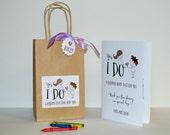 Personalized Kids wedding favor bag / kids wedding fun bag / kids coloring book with crayons