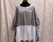 STORE SALE Romantic Upcycled Purple Pinstripe Floral Ruffled Flying Trapeze Style Plus Size Dress Tunic 2XL/3Xl