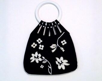 Black with White Flower Tote Bag Vintage Black Suede Floral Handbag 1990s Shoulder Purse Top Handle Bag Boho Hippie Gypsy Appliqué Patch